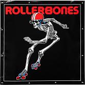 Rollerbones Derby Skating Skeleton Vinyl Banner