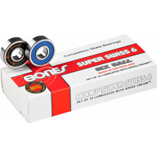 Bones® Super Swiss 6  bearings 8mm (16 pack)